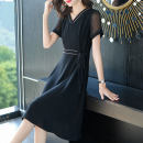 Dress Summer 2021 Black Navy M L XL 2XL 3XL 4XL Mid length dress 25-29 years old Cause More than 95% other Other 100%