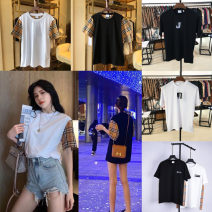 T-shirt White (Plaid sleeve), black (Plaid sleeve), white (underarm Plaid), black (underarm Plaid), white (Swan), black (Swan) XS,S,M,L,XL Summer 2020 Short sleeve Crew neck Straight cylinder Regular routine commute cotton 96% and above 25-29 years old Britain other GIEBURBERRYEL