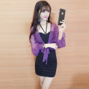 Dress Winter 2017 Purple champagne S M L XL Short skirt Two piece set Long sleeves commute other High waist Solid color other One pace skirt bishop sleeve Hanging neck style 18-24 years old Type X Korean version More than 95% brocade polyester fiber Other polyester 95% 5%