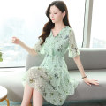 Dress Summer 2021 Light green light blue [collection and purchase] priority delivery + Gift S M L XL 2XL 3XL Mid length dress singleton  Long sleeves commute Crew neck High waist Solid color Socket A-line skirt routine Others 35-39 years old Type A Beautiful romance Korean version Lace More than 95%