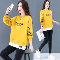 Sweater / sweater Spring 2021 Ginger, orange, light blue, Star Black M L XL 2XL 3XL Long sleeves routine Socket singleton  routine Crew neck easy commute routine letter 96% and above Beautiful romance Korean version polyester fiber PLYY_ forty-two thousand eight hundred and forty Polyester 100%
