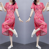 Dress Summer 2021 Lake green, light orange, cherry red M,L,XL,2XL,3XL Other / other