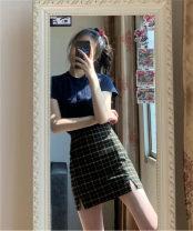 skirt Summer 2020 Average size Nazag, little black, black, white bar, red, black and white, Pankou (black and white), Pankou (solid) Short skirt commute High waist High waist skirt lattice Retro