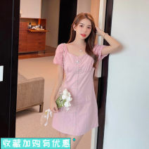 Dress Summer 2021 White, pink S,M,L,XL Short skirt singleton  Short sleeve commute square neck High waist Solid color zipper A-line skirt puff sleeve 25-29 years old Type A Korean version Bowknot, stitching 31% (inclusive) - 50% (inclusive) other cotton