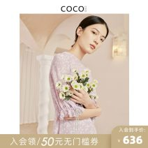 Dress Summer 2021 Wisteria (pre-sale within 10 days) S M L XL Short skirt singleton  elbow sleeve commute Crew neck middle-waisted Dot Socket A-line skirt Lotus leaf sleeve Others 25-29 years old COCOCOZI lady 212CP21 More than 95% silk Mulberry silk 100% Pure e-commerce (online only)