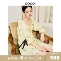 Dress Summer 2021 Tender yellow (pre sold within 10 days) S M L XL Short skirt singleton  three quarter sleeve commute V-neck High waist Dot Socket Princess Dress puff sleeve Others 25-29 years old COCOCOZI lady Open back bandage 212CP51 More than 95% silk Mulberry silk 100%