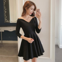 Dress Autumn of 2018 black XS,S,M,L,XL,2XL Middle-skirt singleton  three quarter sleeve commute One word collar middle-waisted Solid color zipper Big swing other Others 18-24 years old Type A Other / other Korean version zipper 81% (inclusive) - 90% (inclusive) other other
