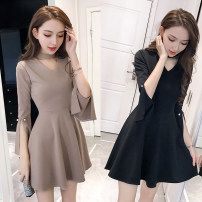 Dress Winter of 2018 Apricot, black XS,S,M,L,XL Middle-skirt singleton  Nine point sleeve commute Crew neck High waist Solid color zipper Big swing Lotus leaf sleeve Others 18-24 years old Type A Other / other Korean version Ruffle, three-dimensional decoration, zipper other cotton