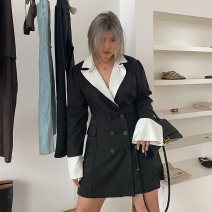 Dress Spring 2021 [spot] black and white color contrast, [pre-sale 7-15 days] black and white color contrast M,L,XL Middle-skirt singleton  Long sleeves street 18-24 years old LT-21001011 71% (inclusive) - 80% (inclusive)