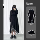 Dress Spring 2021 black L,XL,2XL,3XL longuette singleton  Long sleeves commute V-neck High waist Solid color Socket A-line skirt routine Others 18-24 years old Type A Other / other Korean version Lace, fold 51% (inclusive) - 70% (inclusive) other polyester fiber