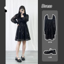 Dress Spring 2021 black L,XL,2XL,3XL longuette singleton  Long sleeves commute Crew neck Loose waist Decor Socket A-line skirt routine Others 18-24 years old Type A Other / other Korean version Print, fold 51% (inclusive) - 70% (inclusive) other polyester fiber