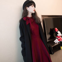 Dress Spring of 2019 Red and black S M L XL Mid length dress singleton  Long sleeves commute Doll Collar High waist Solid color Socket A-line skirt routine Others 18-24 years old Dream of clothes Korean version bow More than 95% polyester fiber Polyester 100%