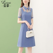 Dress Summer 2021 blue S M L XL XXL XXXL Middle-skirt singleton  Short sleeve commute Polo collar middle-waisted zipper A-line skirt routine 35-39 years old Type A Lei CAI Ol style Opencut embroidered pocket stitching three dimensional decorative nail bead zipper printing L21XL34270 polyester fiber