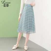 skirt Spring 2021 S M L XL XXL XXXL green Middle-skirt commute Natural waist Pleated skirt lattice Type A 35-39 years old L21CB34174 More than 95% Lei CAI polyester fiber Three dimensional decorative button zipper stitching Ol style Polyester 100%