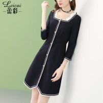 Dress Spring 2021 dark blue S M L XL XXL XXXL Short skirt singleton  Nine point sleeve commute square neck middle-waisted Solid color zipper A-line skirt routine 35-39 years old Type A Lei CAI Ol style Three dimensional decorative button zipper with pleated and pleated Auricularia auricula stitching