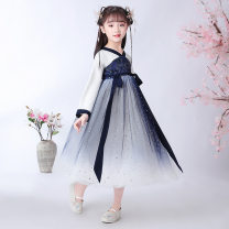 cheongsam 110,120,130,140,150,160 navy blue Cotton 60% other 40% Caffeibe There are models in the real shooting spring and autumn Broken flowers other Class B 10 years old Chinese Mainland