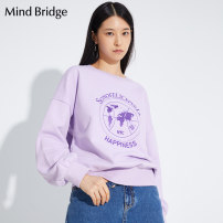 T-shirt Original white violet 155/S 160/M 165/L Spring 2020 Long sleeves Crew neck Straight cylinder Regular routine cotton 51% (inclusive) - 70% (inclusive) 25-29 years old literature letter Mind Bridge MUTS127C Cotton 70% polyester 30% Same model in shopping mall (sold online and offline)