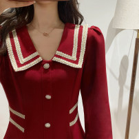 Dress Winter 2020 gules S M L XL Short skirt singleton  Long sleeves commute Doll Collar High waist Solid color Single breasted A-line skirt routine Others 25-29 years old Tonkinese  Korean version Button More than 95% polyester fiber Polyester 100% Exclusive payment of tmall