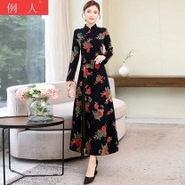 Dress Winter 2020 Picture color M L XL 2XL 3XL longuette singleton  Long sleeves commute stand collar middle-waisted Decor Socket A-line skirt routine 18-24 years old Type A Example person ethnic style printing eXmVSh More than 95% brocade other Other 100.00%