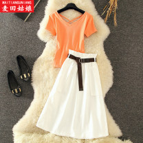 Fashion suit Summer 2020 S M L XL Orange two piece set 18-25 years old Maiden in the Rye 958-1 Polyethylene terephthalate (polyester) 89% others 11% Pure e-commerce (online only)