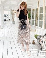 Dress Summer 2020 Leopard print dress S, M longuette singleton  Sleeveless Elastic waist Leopard Print Socket other Others Other / other More than 95% Chiffon polyester fiber
