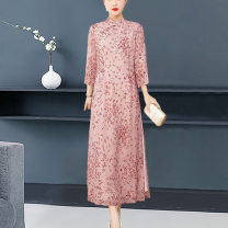 Middle aged and old women's wear Winter 2020 Decor M L XL 2XL 3XL Intellectuality Dress easy 40-49 years old moderate stand collar Daoyi other Other 100% 96% and above Pure e-commerce (online only) longuette