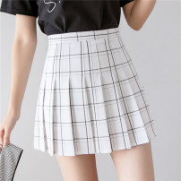 skirt Summer 2020 S M L XL White black gray Pink Short skirt commute High waist Pleated skirt lattice Type A 18-24 years old AM9516 81% (inclusive) - 90% (inclusive) Star girl polyester fiber Pleating Britain Polyester 85% viscose 14% others 1% Exclusive payment of tmall