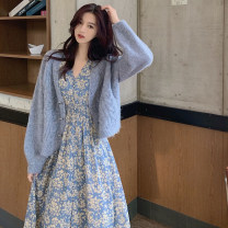 Dress Spring 2021 Blue floral skirt + cardigan yellow floral skirt + cardigan blue floral skirt yellow floral skirt S M L XL longuette Two piece set Long sleeves commute V-neck High waist Decor Single breasted A-line skirt routine Others 18-24 years old Dolu Retro DL9233 polyester fiber