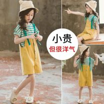 suit Other / other Picture color 110cm,120cm,130cm,140cm,150cm,160cm female summer Korean version Short sleeve + pants 2 pieces Thin money There are models in the real shooting Socket nothing stripe other children Expression of love THX-027 Class B Other 100% Chinese Mainland