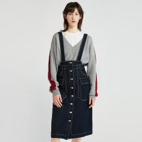 Dress Winter of 2019 blue XS,S,M Short skirt singleton  Sleeveless commute other middle-waisted other Single breasted other straps 30-34 years old Type H Dazzle / geoelement lady Button 2G4O7011S More than 95% other cotton