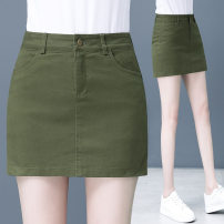 skirt Spring 2021 S. M, l, XL, XXL, XXL Black, army green Middle-skirt fresh High waist skirt Solid color 25-29 years old 91% (inclusive) - 95% (inclusive) other other Three dimensional decoration, splicing