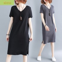 Women's large Summer of 2019 Dark grey black 4XL [recommended 160-180 kg] 2XL [recommended 120-140 kg] XL [recommended 100-120 kg] 3XL [recommended 140-160 kg] Dress singleton  commute Straight cylinder moderate Socket Short sleeve Solid color literature V-neck polyester routine Xuebeijia Other 100%