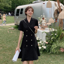 Dress Summer 2021 black S,M,L,XL,2XL Short skirt singleton  Short sleeve commute tailored collar middle-waisted lattice double-breasted A-line skirt routine Others Type A Other / other Korean version Button, button 31% (inclusive) - 50% (inclusive) polyester fiber