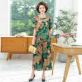Middle aged and old women's wear Summer 2020 Decor 1, decor 2, decor 3, decor 4, decor 5, decor 6, decor 7, decor 8, decor 9 XL,2XL,3XL,4XL,5XL fashion suit easy Two piece set 40-49 years old Socket thin Crew neck Medium length routine 96% and above