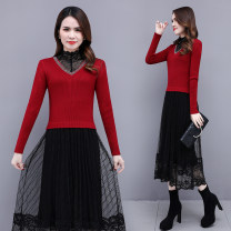 Dress Spring 2021 M L XL 2XL Mid length dress Fake two pieces Long sleeves commute Half high collar High waist Solid color Socket A-line skirt routine Others 30-34 years old Type A Chubi Korean version More than 95% other other Other 100% Pure e-commerce (online only)