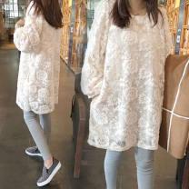 Dress Other / other White, black M. L, XL, XXL, XXXL, increase XXXL Korean version Long sleeves Medium length spring Crew neck Solid color Lace