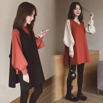 Dress Other / other Black, brick red M,L,XL,XXL Korean version Long sleeves Medium length autumn stand collar Solid color WS003068