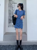 Dress Spring 2021 Gray blue S,M,L,XL Middle-skirt singleton  Short sleeve Crew neck High waist Solid color Socket routine 18-24 years old Other / other other cotton