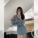 skirt Summer 2021 S,M,L,XL Blue, white Short skirt commute High waist A-line skirt Solid color 18-24 years old More than 95% Other / other other pocket Korean version