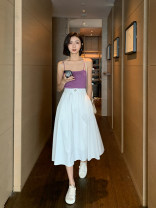 skirt Spring 2021 S, M White, black Mid length dress commute High waist Pleated skirt other 18-24 years old More than 95% Lace Other / other cotton Korean version