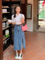 skirt Summer 2021 S,M,L,XL Denim blue Mid length dress Versatile A-line skirt Solid color 18-24 years old Denim Other / other