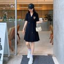 Dress Summer 2020 Black Short skirt singleton  commute other Solid color other routine 25-29 years old Other / other Korean version Button More than 95% polyester fiber