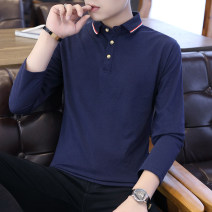 Polo shirt Other / other Youth fashion routine Sky blue, gray, white, red, Navy, green M,L,XL,2XL,3XL Self cultivation Other leisure autumn Long sleeves tide routine youth Cotton 65% polyester 35% 2019 Solid color No iron treatment