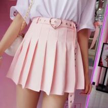 skirt Summer 2020 S,M,L White, black, pink Short skirt Sweet Natural waist Pleated skirt Solid color Type A 18-24 years old G037D 51% (inclusive) - 70% (inclusive) knitting orsherlly cotton Zipper, stitching 251g / m ^ 2 (including) - 300g / m ^ 2 (including) college