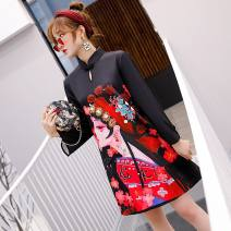 cheongsam Autumn of 2019 S,M,L,XL,XXL black Long sleeves Short cheongsam Retro No slits daily Ruyi lapel character 25-35 years old Piping W1026 polyester fiber 91% (inclusive) - 95% (inclusive)