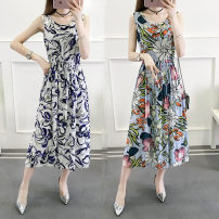 Dress Summer of 2018 M L XL 2XL 3XL Mid length dress singleton  Sleeveless commute Crew neck middle-waisted Broken flowers Socket Big swing routine Others 30-34 years old Type A Hanshangfiman / hanshangtiman Korean version More than 95% other Other 100% Pure e-commerce (online only)