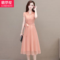 Dress Summer 2021 M L XL 2XL 3XL longuette singleton  Short sleeve commute V-neck High waist Solid color A-line skirt routine Others 25-29 years old Type A Lumengti Korean version Three dimensional decoration C95150619 More than 95% other Other 100% Pure e-commerce (online only)