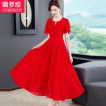 Dress Summer 2021 M L XL 2XL 3XL 4XL longuette singleton  Short sleeve commute other High waist Solid color Big swing Lotus leaf sleeve 25-29 years old Lumengti Korean version More than 95% other Other 100% Pure e-commerce (online only)