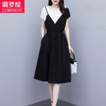 Dress Summer 2021 XL 2XL 3XL 4XL 5XL L Mid length dress singleton  Short sleeve commute Crew neck Solid color Ruffle Skirt other Others 25-29 years old Lumengti Korean version zipper Z91780322 More than 95% other Other 100%