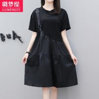 Dress Summer 2021 M L XL 2XL 3XL 4XL Mid length dress singleton  Short sleeve commute Crew neck middle-waisted Solid color Ruffle Skirt routine Others 25-29 years old Type A Lumengti Korean version Lotus leaf edge C88680708 More than 95% other Other 100% Pure e-commerce (online only)